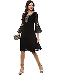 Black Georgetter Party Wear Kurta With Flared Sleeves