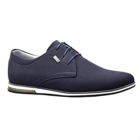 Mens New Casual Black Suede Smart Formal Lace Up Shoes SIZE 6 7 8 9 10 11 (UK 11 / EU 45, Navy Blue)