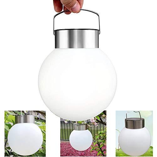 AVEKI - Lámpara solar colgante de bola de acero inoxidable con luz LED solar, resistente al agua y blanca, para jardín, patio, camino