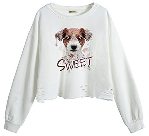 So'each Women's Animal Sweet Dog Crop Tops Hole Pullover Midriff Sweatshirt