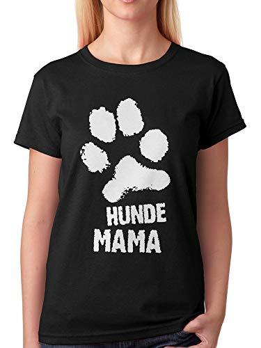 vanVerden Damen Unisex T-Shirt Hunde Mama Hundemama Hundebesitzer Pfote Shirt, Größe:XL, Farbe:Schwarz - Hund Puppy T-shirts T-shirts