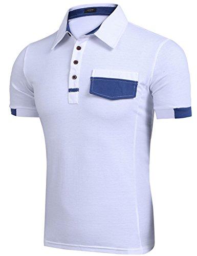 Coofandy Herren V-Neck T-Shirt Kurzarm Layershirt mit Knöpfen Freizeit White