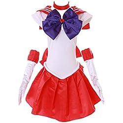 H de 6001Sailor Moon Mars Rojo Blanco vestido de Cosplay Dress Disfraz Costume kawaii de Story