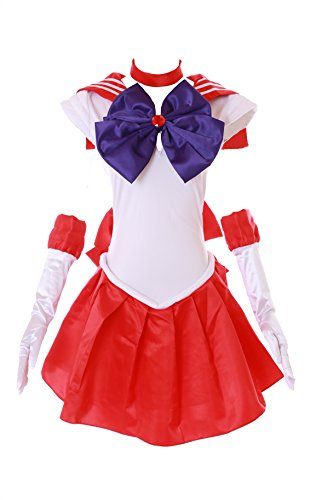 Kawaii-Story MN-H-6001 Crystal Sailor Moon Mars rot weiß Cosplay Kleid Dress Kostüm Costume (Japan Size XXL) (Sailor Kleid Kostüm)