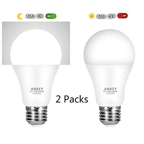 Lampadina LED Sensore 10W E27 Lampadine con Sensore Crepuscolare di Luce Bianco Freddo 6000K Auto On/Off per Portico Corridoio Garage-2 Pezzis