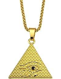 02cde98b7a80 CACTUS88 Moda 2 colores Chapado en oro Exagerar El estilo del ojo de Horus  Collar colgante