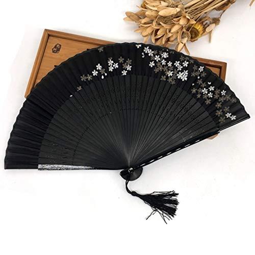 ZYHMXT Faltfächer, 1 Stücke Schwarz Chinese Folk Bamboo Joint Blatt Geschnitzte Falten Hand Fan Hochzeitsgeschenk - Hand Geschnitzten Blättern