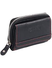 Petit portemonnaie OTARIO , cuir véritable, noir 9x6,5cm