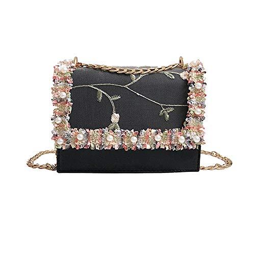 YULAND Damen Ledertasche Kleine, Umhängetaschen Handtaschen Mode Frauen Perle Spitze Crossbody Taschen Tote Handtaschen Schultertasche (Schwarz)