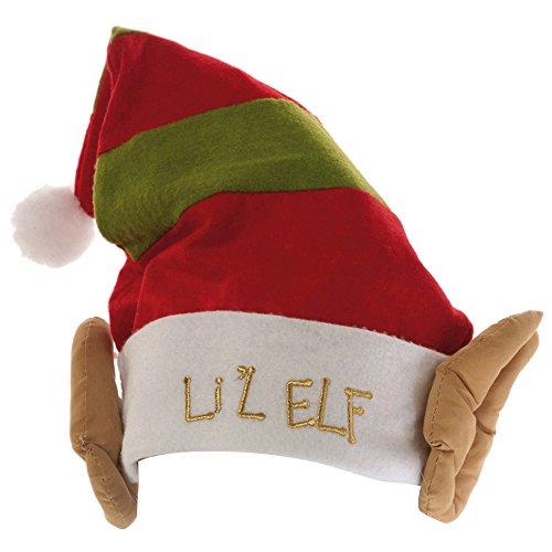 Christmas Shop Elfen-Mütze / Weihnachtsmütze mit Elfen-Ohren, Aufschrift Lil Elf (Einheitsgröße) (Elf Mit Ohren Mütze)
