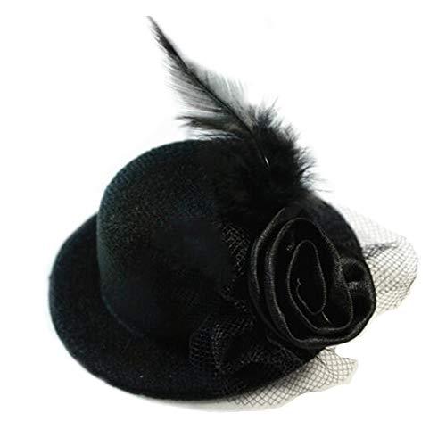 Zylinder Cocktail Hut für Frauen, Cocktail Party Hut mit Punkt Schleier Bowknot Haarspange Charming Große Blume Stirnband Mesh Haarband Party Mädchen Frauen (2 stücke),Black