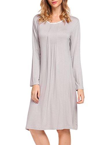 HOTOUCH Damen Langarm Nachthemd Aus Baumwoll Spitzen Klassischer Stil Grau M (Lace Nachthemd Langes Kleid Trim)