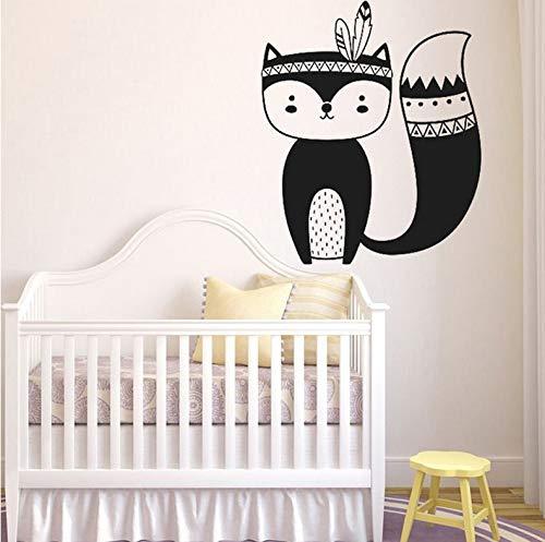 (Wiwhy Tribal Fox Kinderzimmer Wand Aufkleber Woodland Fox Kinderzimmer Aufkleber Vinyl Wall Decal Für Kinderzimmer & Kinderzimmer Schlafzimmer Dekoration 57X67Cm)