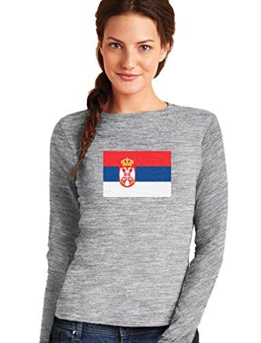 Green Turtle T-Shirts Drapeau de la Serbie T-Shirt Manches Longues Femme Gris Chiné