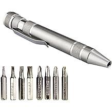 Temlum 8 en 1 Estilo de pluma Destornillador de precisión Set Herramientas de reparación eléctrica Herramienta multifunción de aluminio para la computadora, E- Automaker de cigarrillos y otros dispositivos (gris)