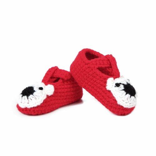 Bigood Chausson Bébé Fille Garçon Chaussures Tricoté Antidérapant Duveteux Cochon Age 0-6Mois Rouge H