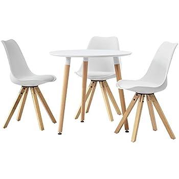 [en.casa] Esstisch mit 4 Stühlen weiß gepolstert 120x80cm