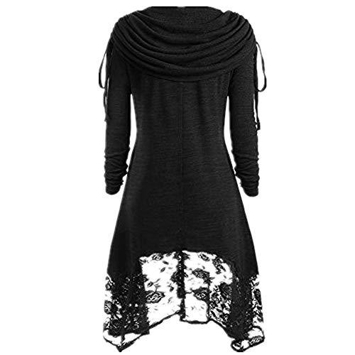 Mode Kleid Frauen Solide Ruched Foldover Kragen Kleider Spitze Knöpfe Patchwork Mini