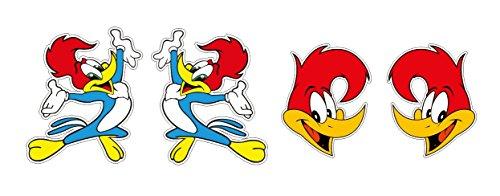 4 Aufkleber Lustiger Specht Woodpacker Vogel Bird Cartoon Animation Aufkleber Sticker + Gratis Schlüsselringanhänger aus Kokosnuss-Schale + Auto Motorrad Laptop Racing Tuning Motorsport (Atv Lustig Aufkleber)