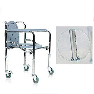 41r0dK1AAJL. SS324  - Toilet chair Silla Inodoro Plegable, Silla de Ducha con Ruedas móvil, Silla de Seguridad de Acero Inoxidable con Ruedas, Seguridad de baño