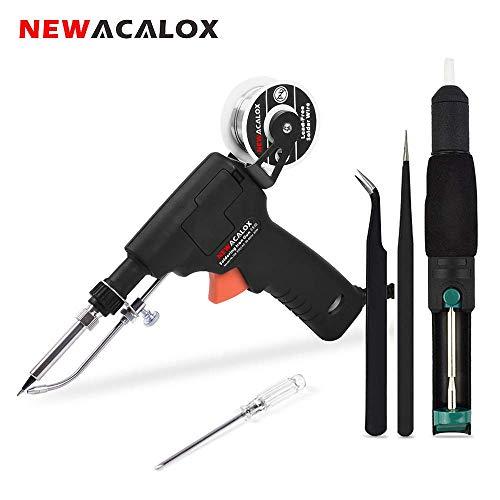 Automatische Lötkolben Lötpistole, NEWACALOX 60W Einstellbar-Temp Solder Schweißbügel Löten/Entlöten Senden Zinnpistole mit Löthalter und Netz Schalter, Entlötpumpe