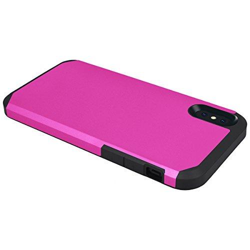 HB-Int 2 in 1 Hülle für iPhone X Silikon TPU Bumper Schutzhülle + Hart PC Back Rückseite Hybrid Handytasche Schutz Etui - Rosa Rot Rosa Rot