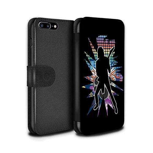 Stuff4 Coque/Etui/Housse Cuir PU Case/Cover pour Apple iPhone 7 Plus / étendre Noir Design / Rock Star Pose Collection Solo Noir