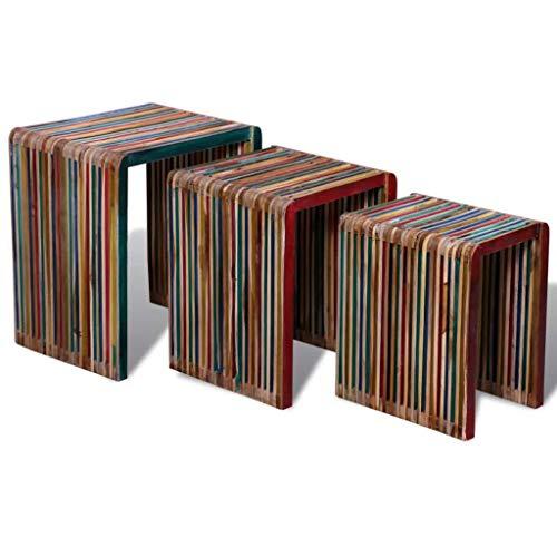 GoodWork4UEu Satztisch-Set 3-TLG. Bunt Recyceltes Teak Möbel Tische Ziertische Beistelltische | Wohnzimmer > Tische > Satztische & Sets | GoodWork4UEu