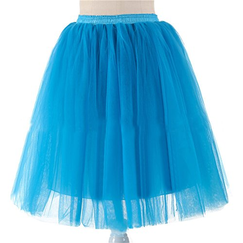 URVIP Damen's 5 Layer Knielanger Rock Elastic Bund Tutu Prinzessin Tütü Tutu Petticoat Ballettrock One Size Blau