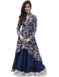 f09ef7529a7a AMBIKA TRADING Women's Crepe Floral Print Front High Slit Maxi Dress (Multi  Blue, Free