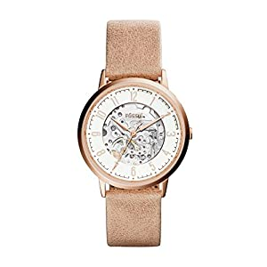 Fossil Damen Skeleton Mechanik Smart Watch Armbanduhr mit Leder Armband ME3152