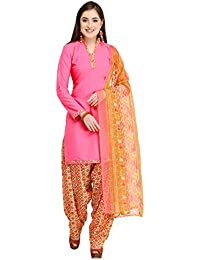 KANCHNAR Women's Crepe Dress Material (583D17009_Free Size_Pink)