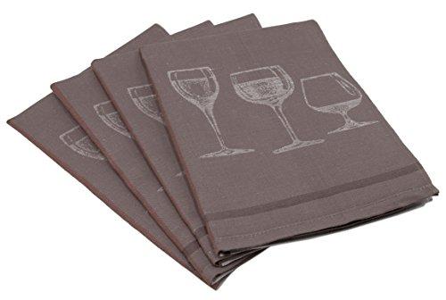 ZOLLNER 4er Set Geschirrtücher Halbleinen, braun (weitere verfügbar), 50x70 cm
