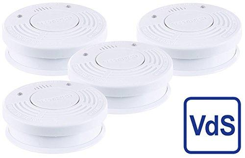PEARL Rauchbrandmelder: Fotoelektrischer Rauchwarnmelder, VDs-Zertifiziert, 4er-Set...
