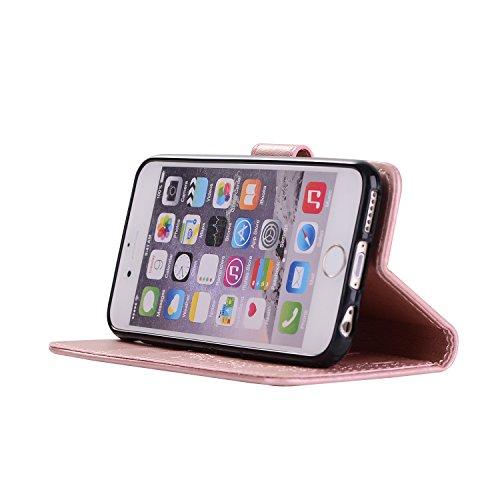 "IJIA Pur Embossage Noir Danseuse PU + TPU Doux Silicone Slot Magnetic Flip Cuir Portefeuille Dragonne ID Credit Card fonction Case Cover Coque Housse Etui pour Apple iPhone 7 4.7"" Pink"