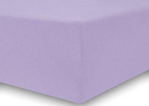 DecoKing 18170 80x200-90x200 cm Spannbettlaken violett 100% Baumwolle Jersey Boxspringbett Spannbetttuch Bettlaken Betttuch Violet Amber Collection - 4