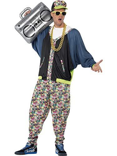 Halloweenia - Herren Männer 80er Jahre Hip Hop Rapper Kostüm mit Jacke, Hose und Kappe, perfekt für Karneval, Fasching und Fastnacht, One Size, Schwarz