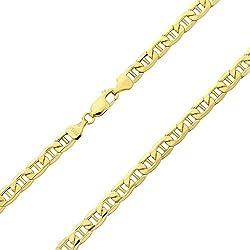 14 Karat/585 Gold Italienisch Flach Mariner Kette Gelbgold - Breite 3.10 mm - Länge wählbar (45)