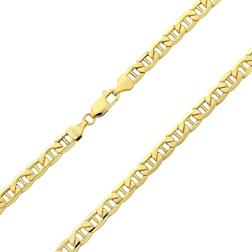 14 Karat 585 Gold Italienisch Flach Mariner Kette Gelbgold - Breite 3.10 mm - Länge wählbar (60)