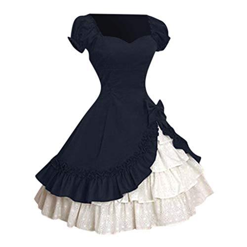 Gothic Lolita Kleid, Dasongff Mittelalterliche Viktorianischen Königin Kostüm Renaissance Maxikleid Partykleid Abendkleid Damen Cosplay Steampunk Chiffon Kleid Corsagenkleid Trachtenkleid (Mädchen Renaissance Königin Kostüm)