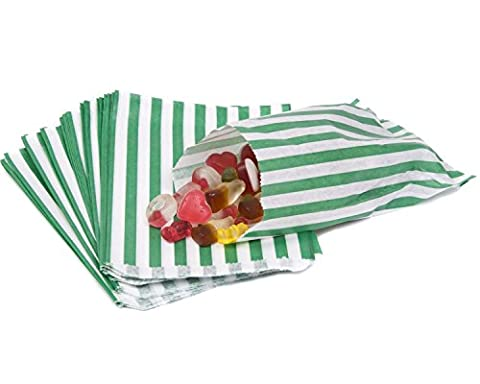 The Paper Bag Company Candy Stripe Paper Bags, 5 x 7 Inches - Green, Pack of 100