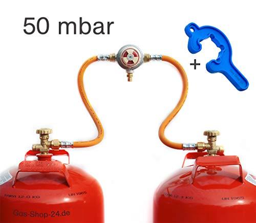 Automatische 50 mbar Zweiflaschenanlage für 3/5/ 11 kg Propangasflaschen/Gasflaschen (Flaschenanlage, Druckminderer, Propangas Flüssiggas Kleinflaschenanlage) für Gewächshausheizungen -