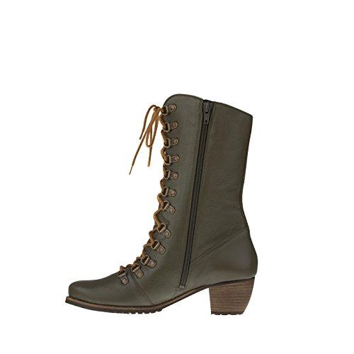 tessamino Damen Stiefel aus Hirschleder, schick, Weite H, für Einlagen Olivgrün