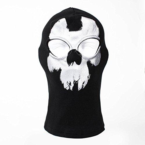 ToBe-U Ghost Skull Full Face Maske für Halloween Call of Duty Zwei Löchern Einheitsgröße Schwarz (B) (Halloween-maske Ghosts Duty Call Of)