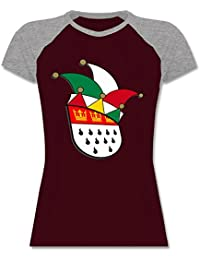 0066721b1b3015 Shirtracer Karneval   Fasching - Köln Wappen Narrenkappe - Zweifarbiges  Baseballshirt Raglan T-Shirt