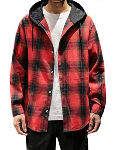 Camicie per uomo reticolo incappucciato blusa moda giovane autunno prodotto plus felpa donna cappuccio unico confortevole stile college camicette in alto (rosso,4xl)