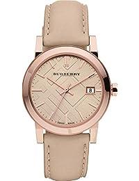 PROMOCIÓN! Auténtico Burberry DE LUJO RARO Oro Rosa Reloj Mujeres Unisexo Hombres The City Piel Beige Auténtica Esfera Beige Fecha BU9109