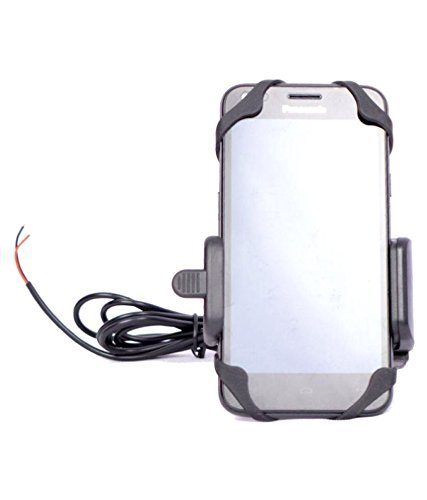 Guance Plastic Bike Mobile Holder with Inbuilt USB Charger For Royal Enfield Classic Chrome
