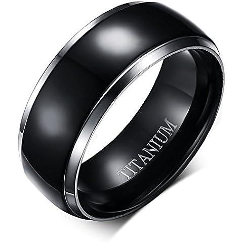 8 mm-Anello a fascia per uomo in titanio, anello da fidanzamento, da matrimonio, medio, colore: nero