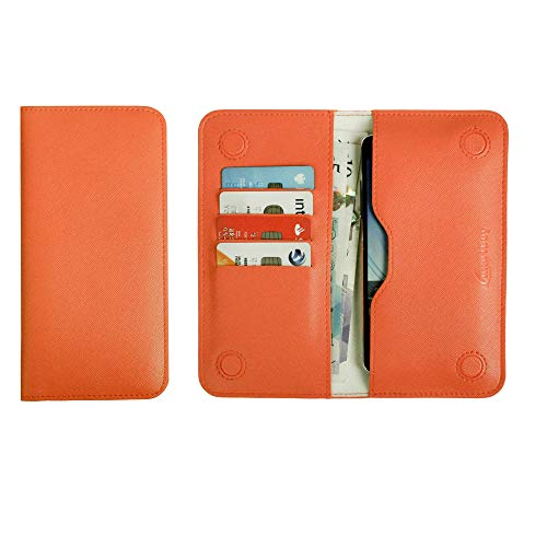 Emartbuy PU Leather Magnetic Slim Wallet Case Cover Sleeve for Jolla Jolla C Smartphone (Size LM2_Orange Plain)